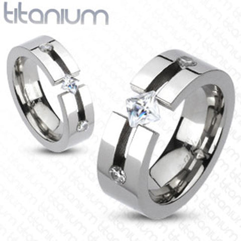 8mm Triple CZ Princess Cut Center Band Men's Ring Solid Titanium - Zhannel