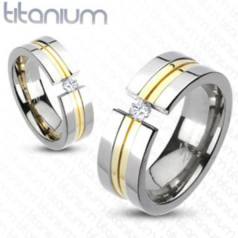 6mm Center Gold IP Double Grooved Band Ring with CZ Solid Titanium - Zhannel