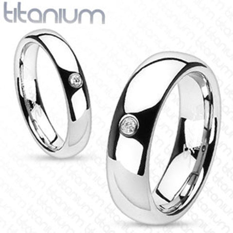 6mm Round Solitaire CZ Centered Dome Band Men's Ring Solid Titanium - Zhannel