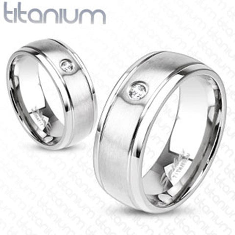 6mm Mirror Polished Edge & Brushed Metal Center w/ CZ Band Ring Solid Titanium - Zhannel