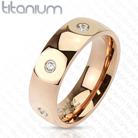 Paved CZ Solid Titanium Rose Gold IP Wedding Band Women's Ring - Zhannel