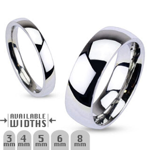 4mm Glossy Mirror Polished Traditional Wedding Band Ring 316L Stainless Steel - Zhannel