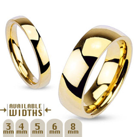 8mm Glossy Mirror Polished Gold IP Traditional Wedding Band Ring 316L Stainless Steel - Zhannel