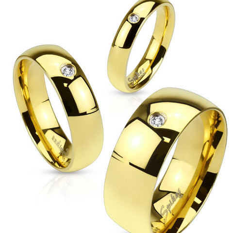 8mm Wedding Band Men's Ring Gold IP Stainless Steel with CZ - Zhannel
