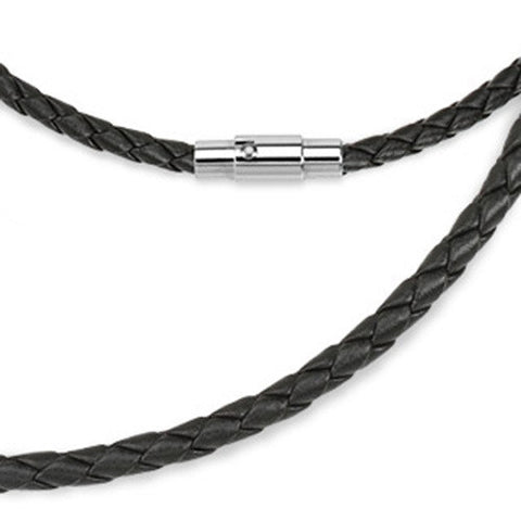 "Black Leather Multi Weaved Necklace with Lockable Magnetic Closure 20"" - Zhannel"
