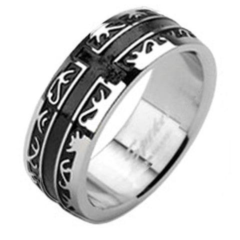 8mm Tribal Black IP with a Cross Band Men's Ring Stainless Steel - Zhannel