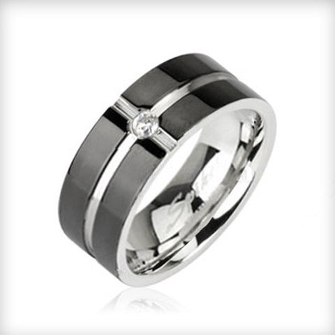 Layered Crossing Black IP with CZ Center 316L Surgical Stainless Steel Ring - Zhannel