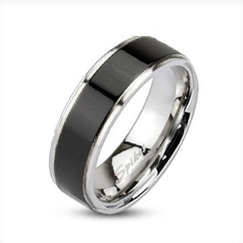 Brushed Black IP Center Band Men's Ring 316L Stainless Steel - Zhannel