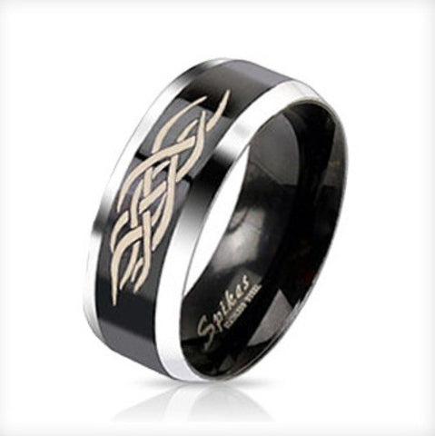 Centered Tribal Inlay Two Tone Black IP Band Men's Ring Stainless Steel - Zhannel