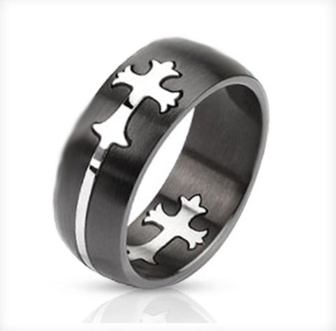 8mm Dome Cut Out Celtic Cross Two Tone Band Ring Stainless Steel - Zhannel