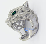 Leopard Panther with Green Eyes Fashion Cocktail Statement Ring Sterling Silver - Zhannel  - 2