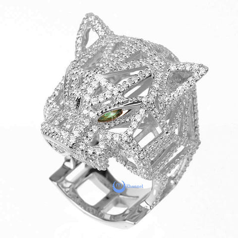 Leopard Panther with Green Eyes Fashion Cocktail Statement Ring Sterling Silver - Zhannel  - 1