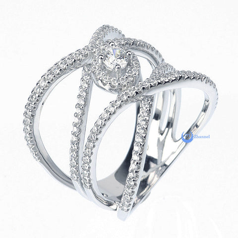 Crossover XX Solitaire Fashion Cocktail Ring CLEOPATRA Rhodium Sterling Silver - Zhannel  - 5