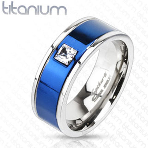 8mm Square CZ Centered Two Tone Blue IP Band Ring Solid Titanium - Zhannel
