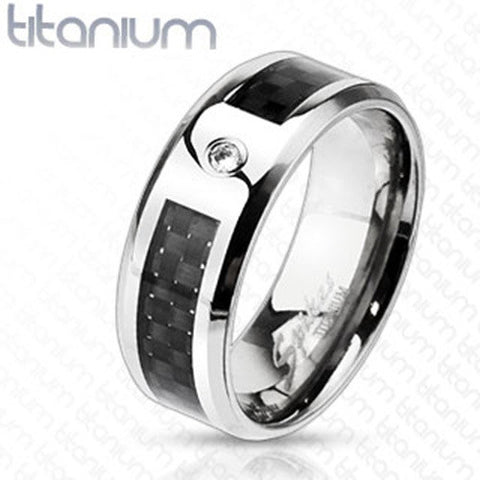 8mm Black Graphite Carbon Fiber Inlay CZ Center Band Ring Solid Titanium - Zhannel