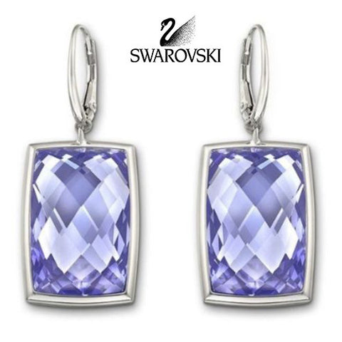 $145 Swarovski Tanzanite Crystal NIRVANA Pierced Earrings Rhodium #1144366 - Zhannel  - 1