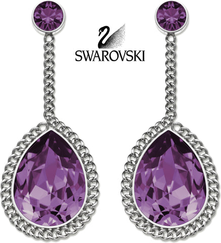 $125 Swarovski Purple Crystal SMOOTHLY Pierced Earrings S #5026885 - Zhannel  - 1