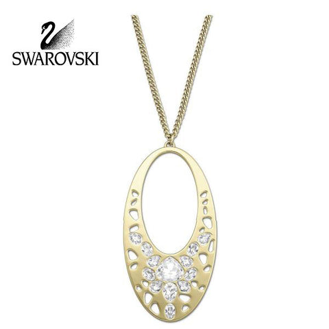 $180 Swarovski Clear Crystal Gold Pendant Necklace ARIANE #5037428 New - Zhannel  - 1
