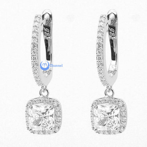 Wedding Bridal Drop Dangle Earrings AGNES Princess Cut CZ Sterling Silver - Zhannel