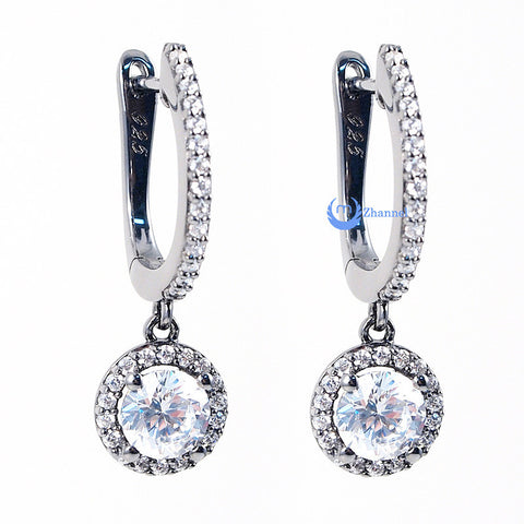 Wedding Bridal Drop Dangle Earrings MARGARET Round Cut CZ Sterling Silver - Zhannel