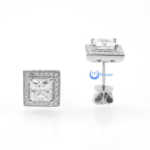 1.05ct Princess Cut Earrings Square Studs AMY Signity CZ Sterling Silver - Zhannel  - 1
