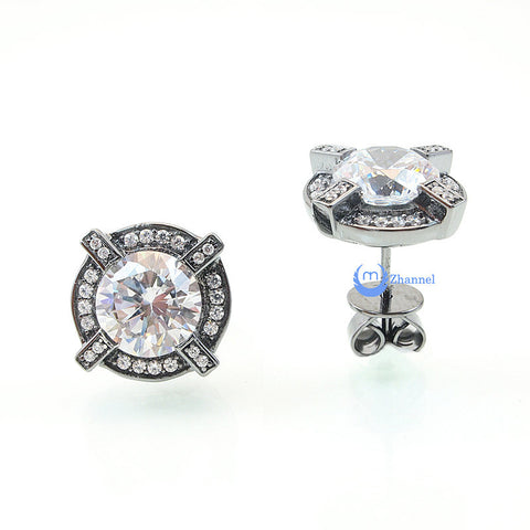 2ct Round Cut Signity CZ Earrings Studs DONNA Sterling Silver - Zhannel