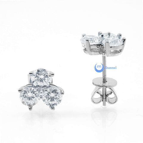 1.5ct 3-Petal Flower Studs Earrings Sterling Silver Pear CZ - Zhannel