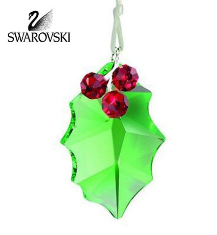 Swarovski Crystal Christmas Figurine Ornament HOLLY LEAF ORNAMENT #5103222 - Zhannel  - 1