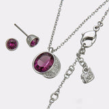 Swarovski Purple Crystal Silvertone GLORIA SET Amethyst Necklace & Earrings #5022425 - Zhannel  - 5
