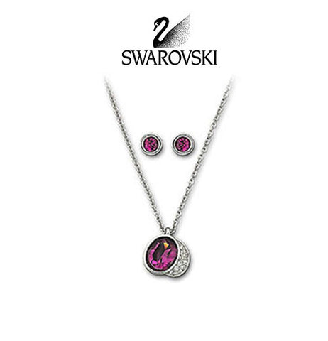 Swarovski Purple Crystal Silvertone GLORIA SET Amethyst Necklace & Earrings #5022425 - Zhannel  - 1