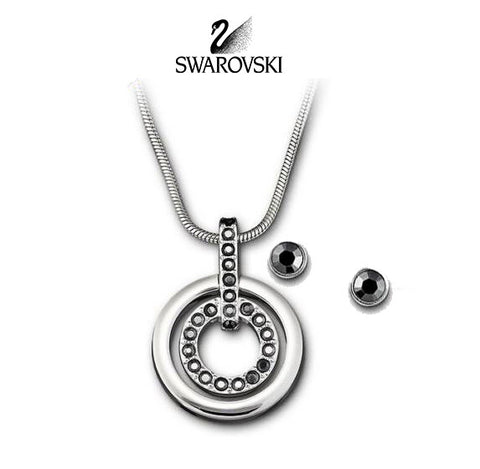 Swarovski Black Crystal Silvertone CIRCLE  SET Necklace & Earrings #5030714 - Zhannel  - 1