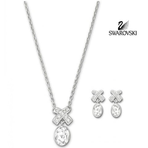 Swarovski Clear Crystal RICE SET Rhodium Necklace & Earrings #5034157 - Zhannel  - 1