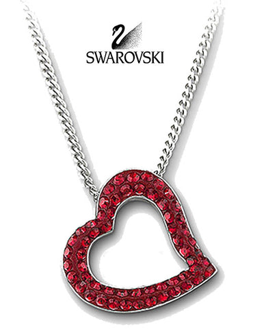 Swarovski Red Crystal Necklace HEART TRUTH PENDANT Siam #1039571 - Zhannel  - 1