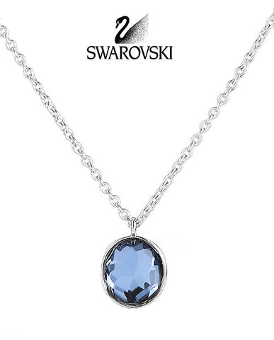 Swarovski Blue Crystal MARIE Pendant Small Silver Necklace #1071141 - Zhannel  - 1