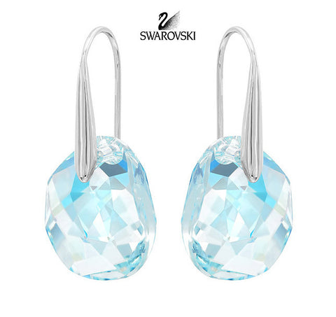 Swarovski Crystal GALET Light Azore Blue Pierced Earrings Rhodium #949740 - Zhannel  - 1