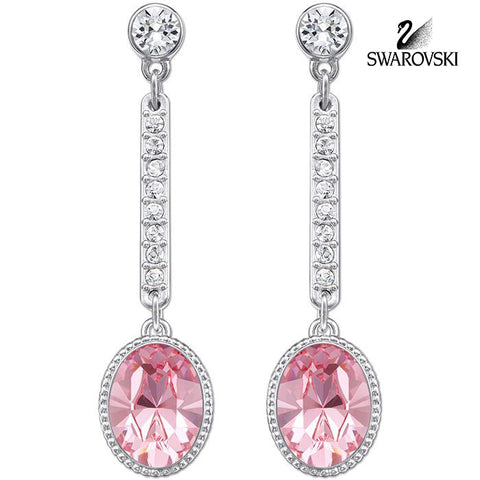 Swarovski Pink Crystal JEWELRY Pierced Earrings ADHERE Light Rose #5036777 - Zhannel  - 1