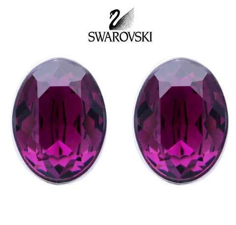 Swarovski Purple Crystal JEWELRY Pierced Earrings BIS AMETHYST Rhodium #5089445 - Zhannel  - 1
