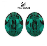 Swarovski Green Crystal JEWELRY Pierced Earrings BIS Emerald Rhodium #5085600 - Zhannel  - 1