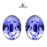Swarovski Purple Crystal JEWELRY Pierced Earrings BIS Tanzanite Rhodium #5098846 - Zhannel  - 1