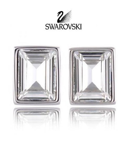 Swarovski Clear Crystal JEWELRY Pierced Earrings PRIME STUDS Rhodium #1106447 - Zhannel  - 1