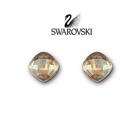 Swarovski Amber Crystal JEWELRY Pierced Earrings LEA STUDS Golden Shadow #1046891 - Zhannel  - 1