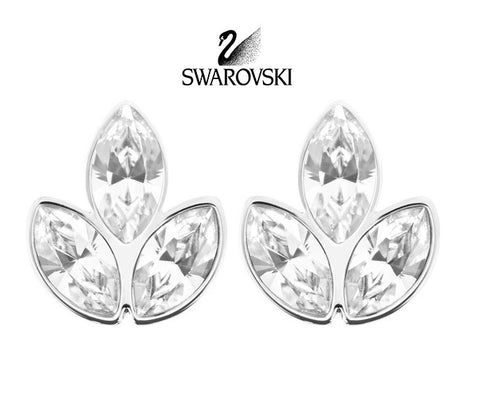 Swarovski Clear Crystal JEWELRY Pierced Earrings AZALEA Rhodium #5083131 - Zhannel  - 1