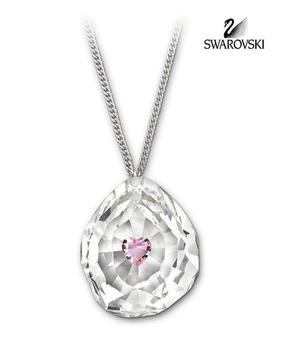 Swarovski Clear & Pink Crystal JEWELRY NEON HEART Pendant NECKLACE #1119255 - Zhannel  - 1