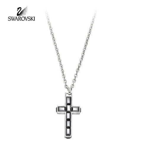 Swarovski Jet Hematite Crystal JEWELRY TACE Cross Pendant Necklace #1179775 - Zhannel  - 1