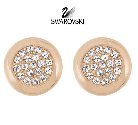 Swarovski Crystal STONE Pierced Earrings Studs Rose Gold Plated #5069729 - Zhannel  - 1