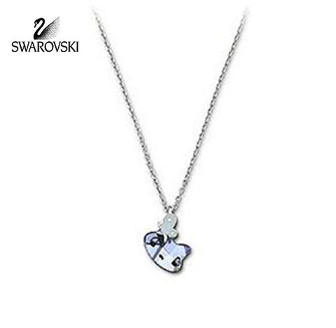 Swarovski Blue Crystal JEWELRY MINI CAT Pendant Necklace Light Sapphire #1003282 - Zhannel  - 1