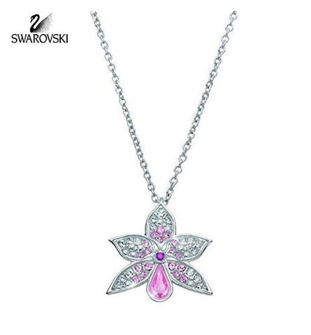 Swarovski Pink & Clear Crystal JEWELRY ORCHID Pendant Necklace Rhodium #1178081 - Zhannel  - 1