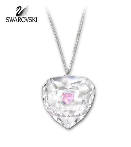 Swarovski Pink & Clear Crystal TRUTHFUL Heart Pendant Necklace Rhodium #1152184 - Zhannel  - 1