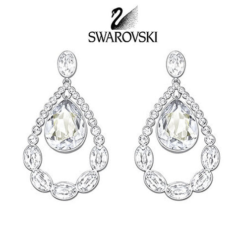 Swarovski Clear Crystal Jewelry ALMOST Pierced Earrings Rhodium #5043655 - Zhannel  - 1