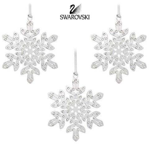 Swarovski 3 Christmas Ornaments CRYSTAL PIXEL SNOWFLAKE  Silver Ornament #1135179 - Zhannel  - 1